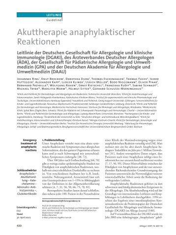 Akuttherapie anaphylaktischer Reaktionen - dgaki