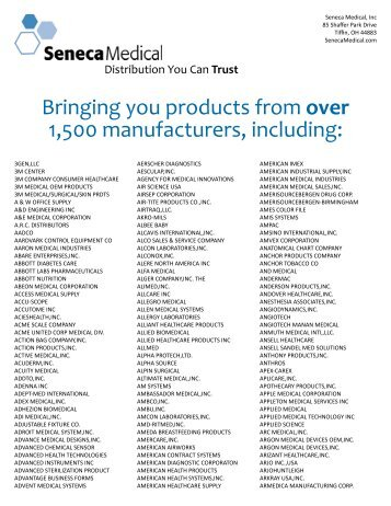 Bringing you products from over 1,500 ... - Seneca Medical