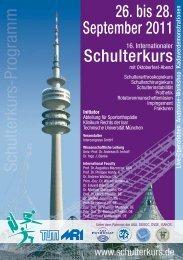 26. bis 28. September 2011 Schulterkurs - Abteilung und Poliklinik ...