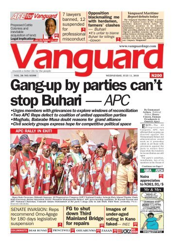 11072018 - Gang-up by parties can't stop Buhari — APC
