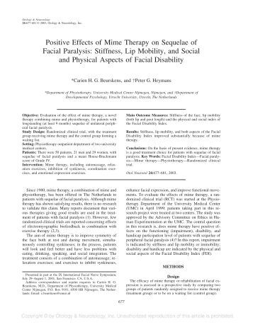 Positive Effects of Mime Therapy on Sequelae of Facial Paralysis ...