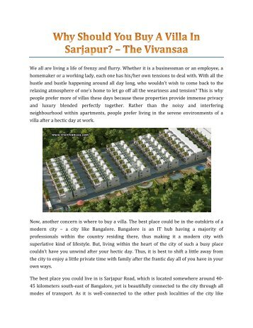 Why Should You Buy A Villa In Sarjapur
