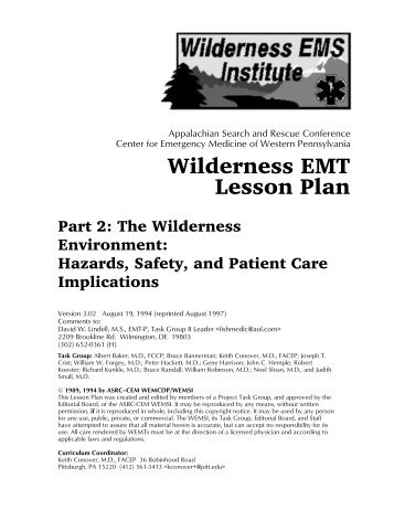 Wil der ness EMT Les son Plan - Wilderness Emergency Medical ...