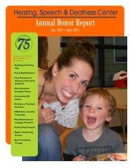 Annual Donor Report - Hearing, Speech & Deafness Center