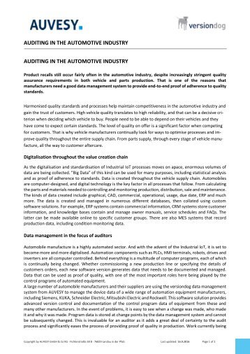 2016-09 Auditing in automotive industry