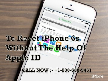 Call +1-800-608-5461 To Reset iPhone 6s Without The Help Of Apple ID