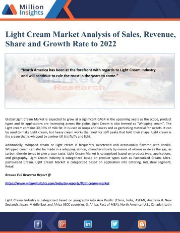 Light Cream Market Analysis of Sales, Revenue, Share and Growth Rate to 2022