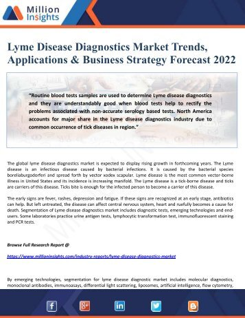 Lyme Disease Diagnostics Market Trends, Applications & Business Strategy Forecast 2022