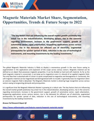 Magnetic Materials Market Share, Segmentation, Opportunities, Trends & Future Scope to 2022