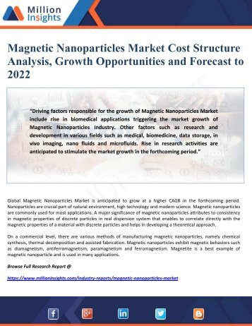 Magnetic Nanoparticles Market Cost Structure Analysis, Growth Opportunities and Forecast to 2022