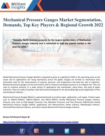Mechanical Pressure Gauges Market Segmentation, Demands, Top Key Players & Regional Growth 2022