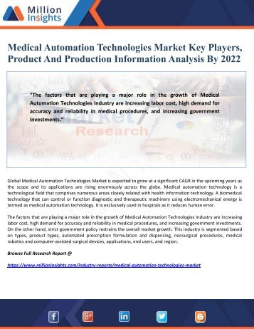 Medical Automation Technologies Market Key Players, Product And Production Information Analysis By 2022
