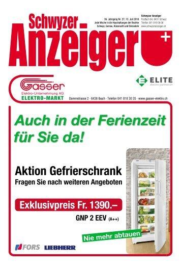 Schwyzer Anzeiger – Woche 28 – 13. Juli 2018