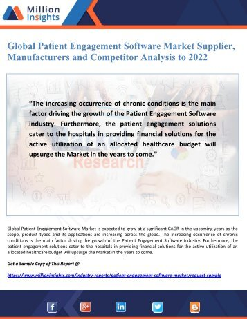 Global Patient Engagement Software Market Supplier, Manufacturers and Competitor Analysis to 2022
