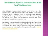 The Fabulous 4 Airport Car Service Providers in Colt Neck NJ to Choose From