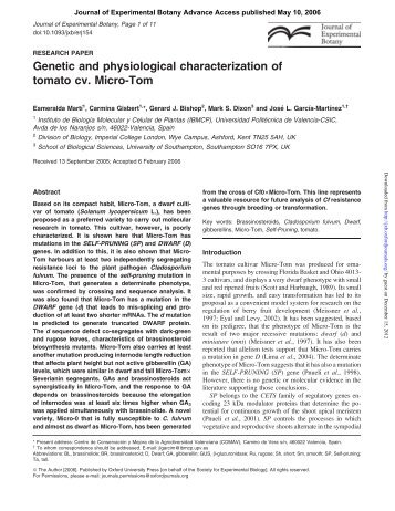 Genetic and physiological characterization of tomato cv. Micro-Tom