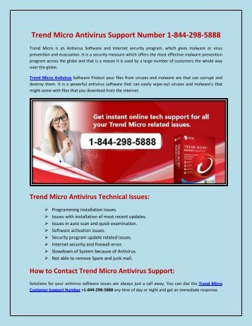 Trend Micro Antivirus Support Number 1-844-298-5888