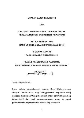 UCAPAN BAJET TAHUN 2012 Oleh YAB DATO' SRI ... - Mampu