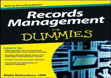 Download Records Management For Dummies | Download file