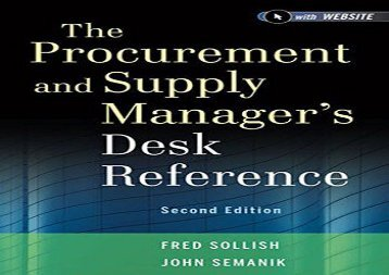 Free The Procurement and Supply Manager s Desk Reference, Second Edition + Website | Download file