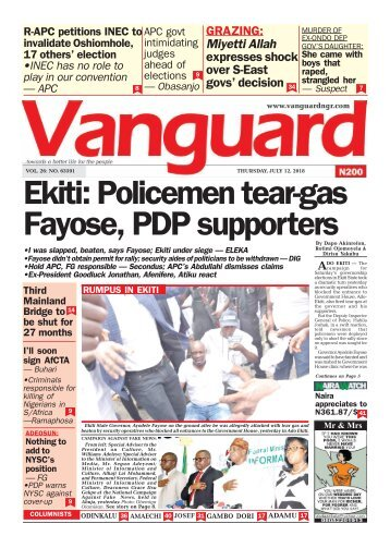 12072018 - Ekiti: Policemen tear-gas Fayose, PDP supporters