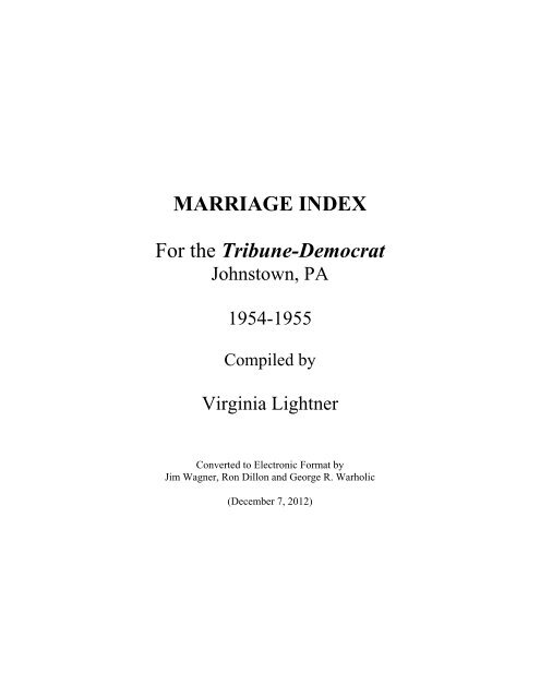 MARRIAGE INDEX For the Tribune-Democrat - RootsWeb