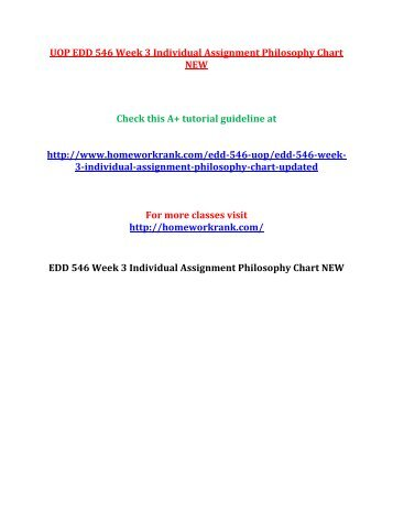 UOP EDD 546 Week 3 Individual Assignment Philosophy Chart NEW