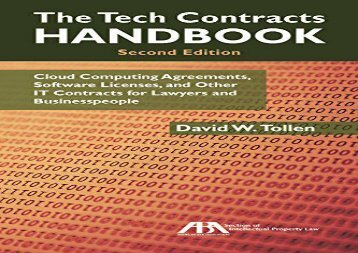 [+][PDF] TOP TREND The Tech Contracts Handbook: Cloud Computing Agreements, Software Licenses, and Other It Contracts for Lawyers and Businesspeople  [FULL]