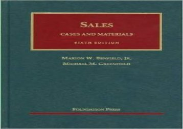 [+]The best book of the month Cases and Materials on Sales (University Casebook Series)  [DOWNLOAD]