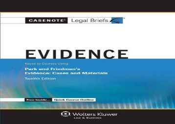 [+][PDF] TOP TREND Casenote Legal Briefs: Evidence, Keyed to Park and Friedman s Evidence: Cases and Materials, Twelfth Edition  [FULL]