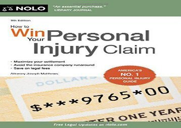 [+][PDF] TOP TREND How to Win Your Personal Injury Claim  [DOWNLOAD]