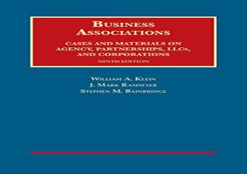 [+]The best book of the month Business Associations, Cases and Materials on Agency, Partnerships, and Corporations (University Casebook Series)  [DOWNLOAD]