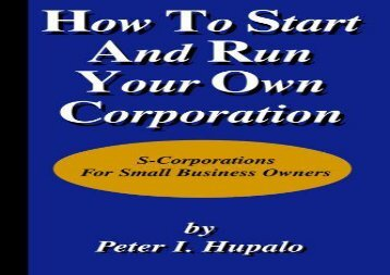 [+]The best book of the month How to Start and Run Your Own Corporation  [NEWS]