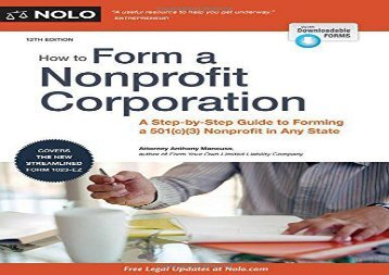 [+][PDF] TOP TREND How to Form a Nonprofit Corporation: A Step-By-Step Guide to Forming a 501(c)(3) Nonprofit in Any State (How to Form Your Own Nonprofit Corporation)  [FREE]