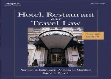 [+]The best book of the month Hotel, Restaurant, and Travel Law (Hotel, Restaurant   Travel Law)  [READ]