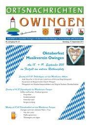 Oktoberfest Musikverein Owingen Am 18. + 19. September 2011 im ...