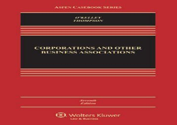 [+][PDF] TOP TREND Corporations and Other Business Associations: Cases and Materials (Aspen Casebook) [PDF]