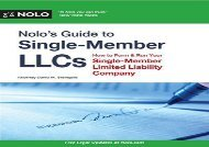 [+]The best book of the month Nolo s Guide to Single-Member LLCs: How to Form   Run Your Single-Member Limited Liability Company  [FREE]