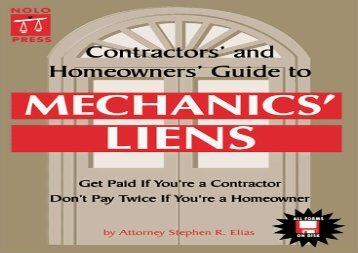 [+][PDF] TOP TREND Contractors  and Homeowners  Guide to Mechanics  Liens  [READ]