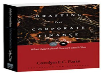 [+]The best book of the month Drafting for Corporate Finance: 1 (PLI s Corporate and Securities Law Library)  [NEWS]