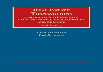 [+]The best book of the month Real Estate Transactions, Cases and Materials on Land Transfer, Development and Finance (University Casebook Series)  [READ]