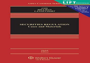 [+]The best book of the month Securities Regulation: Cases and Materials (Aspen Casebook)  [FREE]