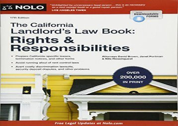 [+][PDF] TOP TREND The California Landlord s Law Book: Rights   Responsibilities (California Landlord s Law Book : Rights and Responsibilities)  [NEWS]