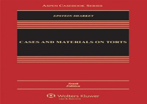 [+][PDF] TOP TREND Cases and Materials on Torts (Aspen Casebooks)  [NEWS]