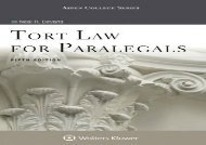 [+]The best book of the month Tort Law for Paralegals (Aspen College)  [DOWNLOAD]