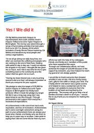 Aylesbury Surgery Health and Engagement Forum Newsletter 8.