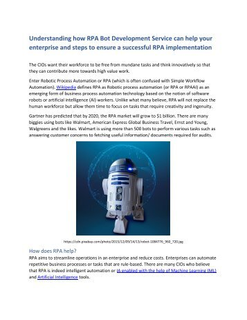 Understanding how RPA Bot Development Service can help your enterprise and steps to ensure a successful RPA implementation