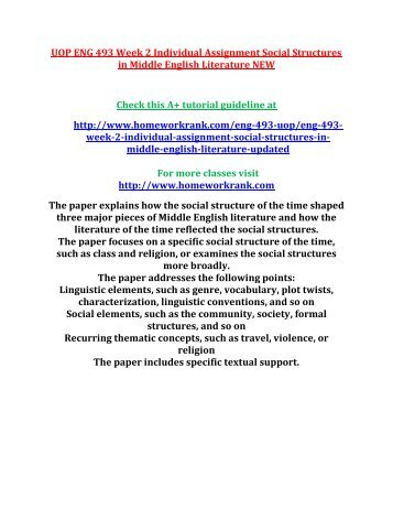 UOP ENG 493 Week 2 Individual Assignment Social Structures in Middle English Literature NEW
