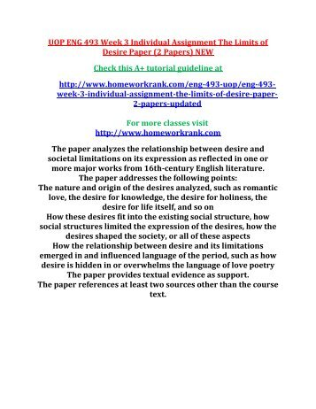 UOP ENG 493 Week 3 Individual Assignment The Limits of Desire Paper