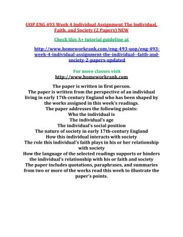 UOP ENG 493 Week 4 Individual Assignment The Individual, Faith, and Society (2 Papers) NEW